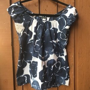 J. Crew Women's Small Blouse Blue White Flowers